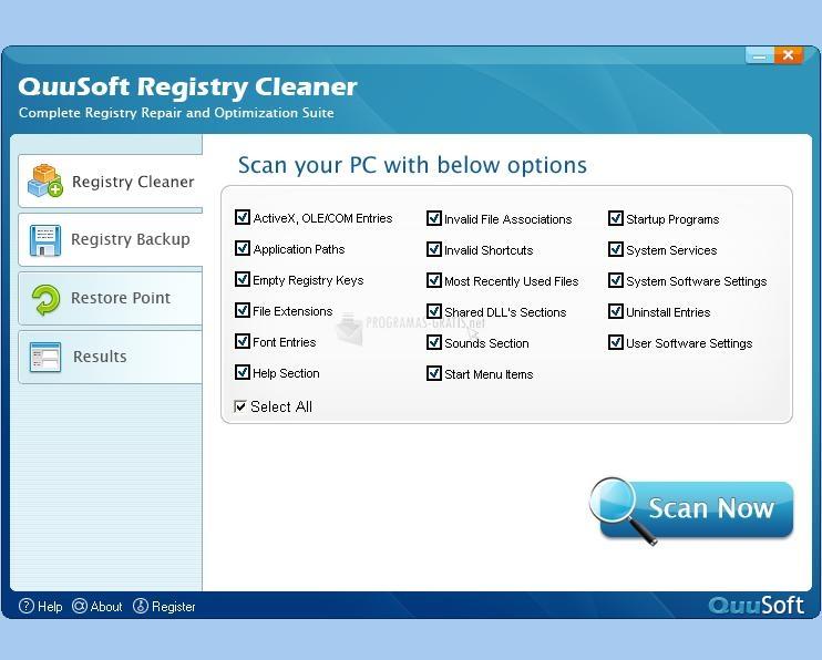 Pantallazo QuuSoft Registry Cleaner