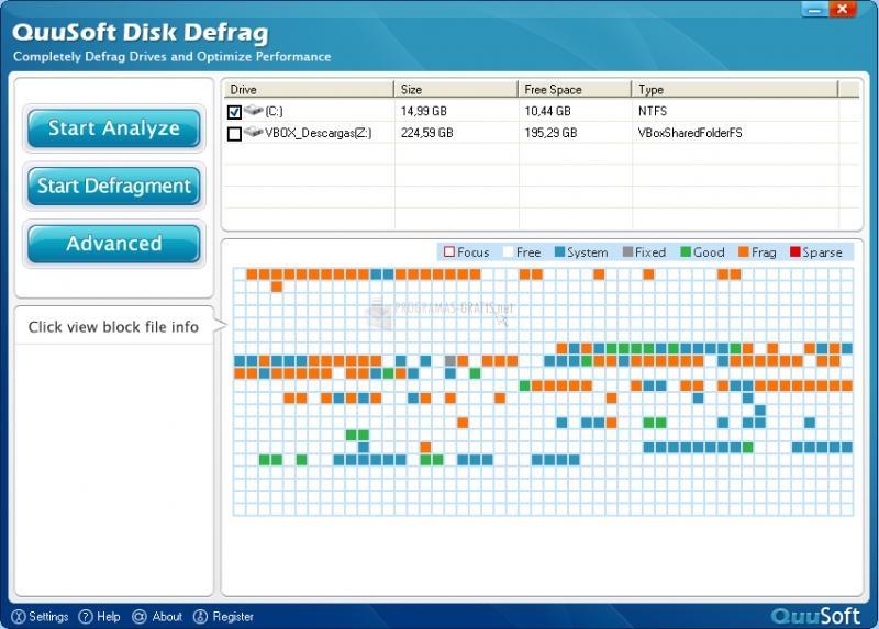 Pantallazo QuuSoft Disk Defrag