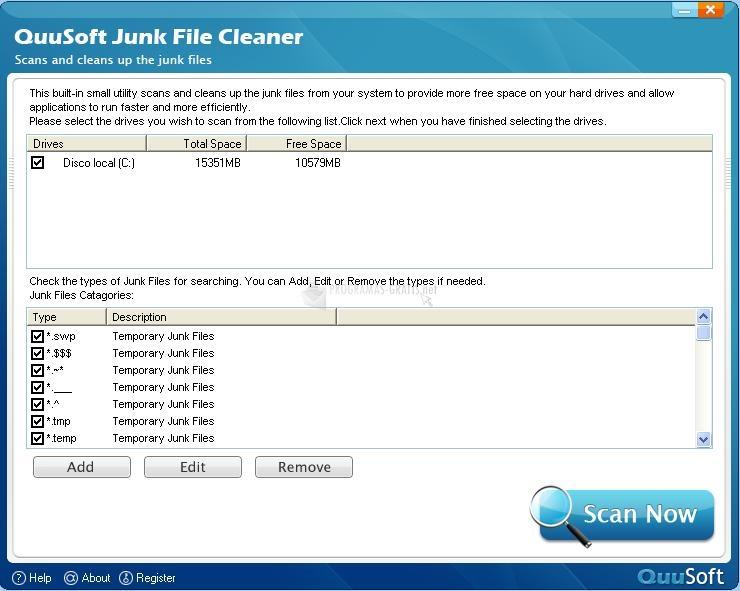 Pantallazo QuuSoft Junk File Cleaner