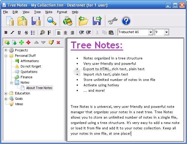 Pantallazo Tree Notes