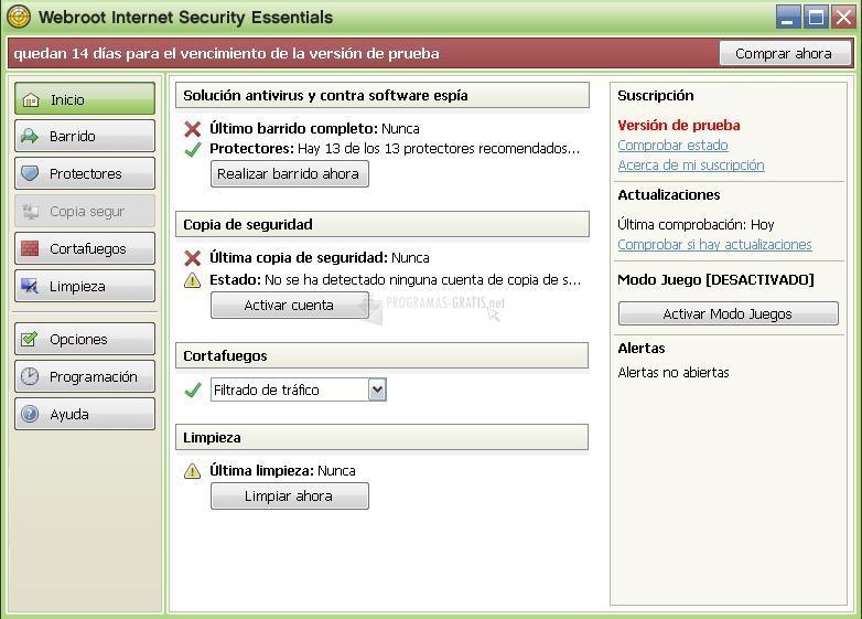 Pantallazo Webroot Internet Security Essentials