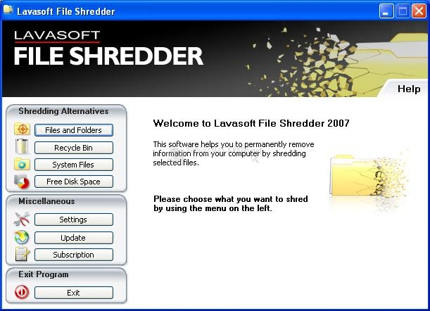 Pantallazo Lavasoft File Shredder