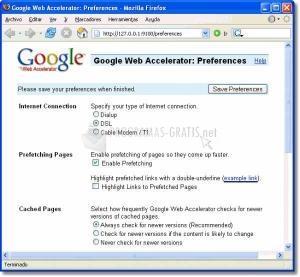 Pantallazo Google Web Accelerator