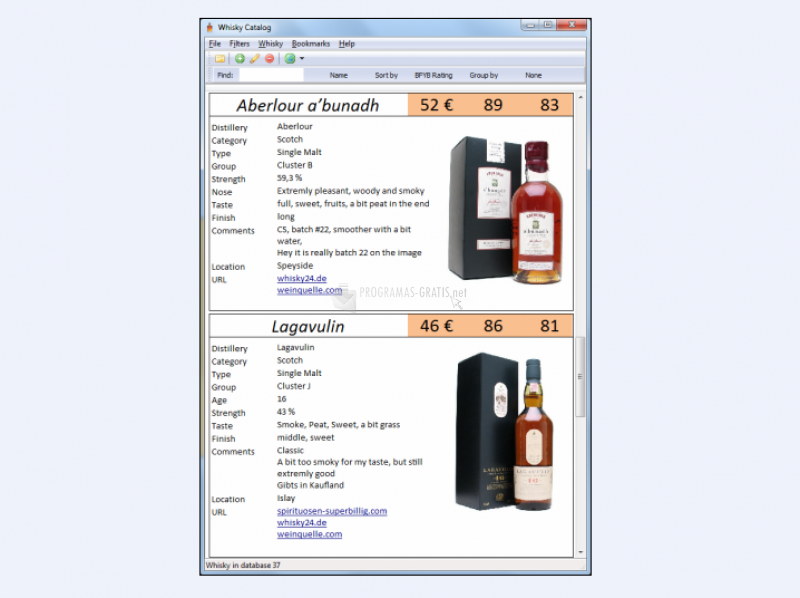 Pantallazo Whisky Catalog