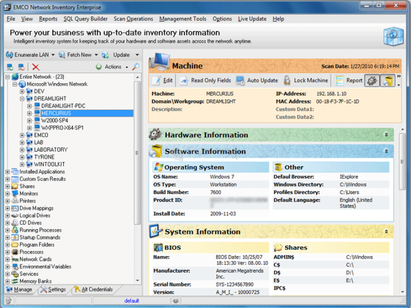 Pantallazo EMCO Network Inventory