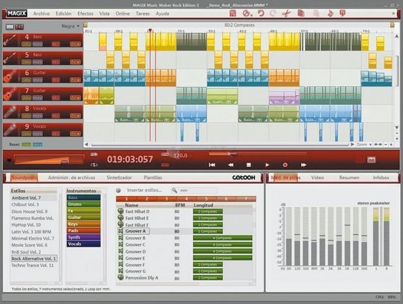 Pantallazo Magix Music Maker Rock Edition