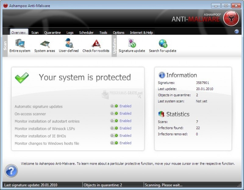 Pantallazo Ashampoo Anti-Malware