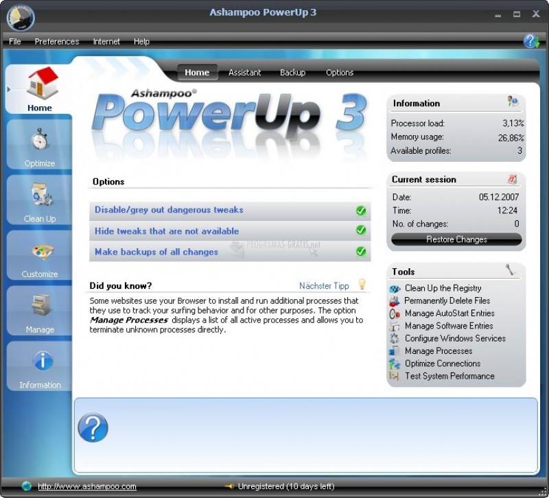 Pantallazo Ashampoo PowerUp