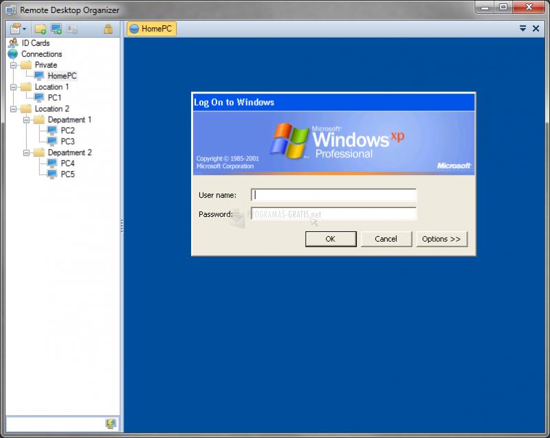 Pantallazo Remote Desktop Organizer