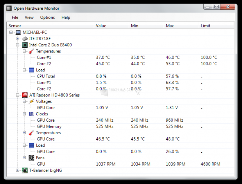 Pantallazo Open Hardware Monitor
