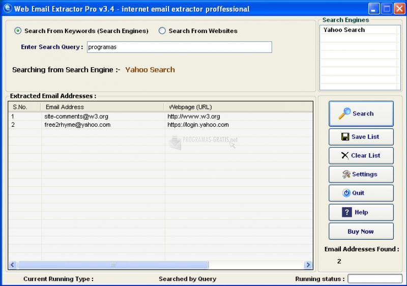 Pantallazo Web Email Extractor