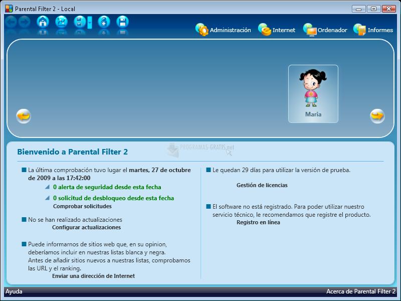 Pantallazo Profil Parental Filter