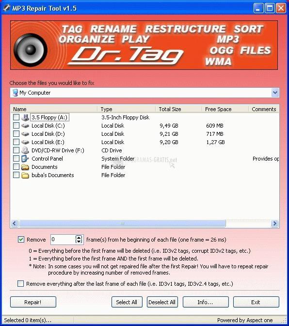Pantallazo MP3 Repair Tool