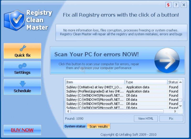 Pantallazo Registry Clean Master