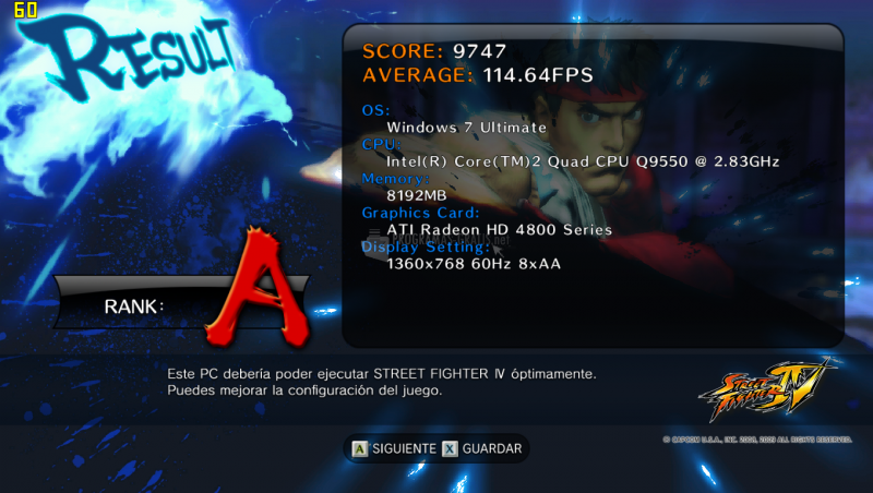 Pantallazo Street Fighter 4 Benchmark