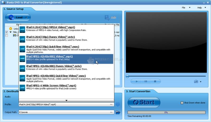 Pantallazo iFunia DVD to iPad Converter