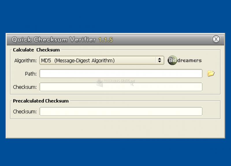 Pantallazo Quick Checksum Verifier
