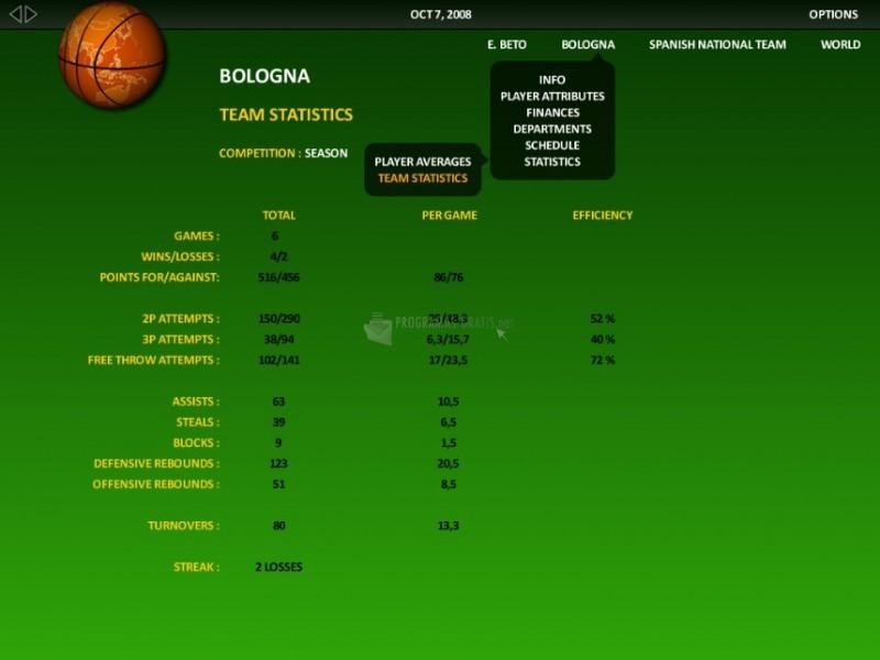 Pantallazo World Basketball Manager