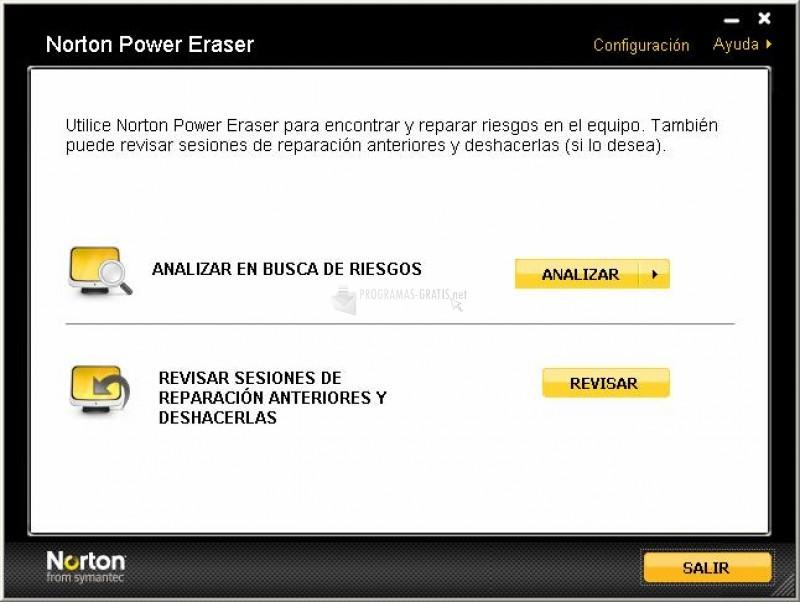 Pantallazo Norton Power Eraser