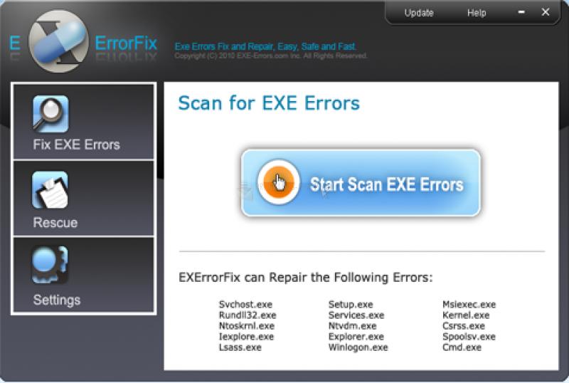 Pantallazo EXE Errors Fix
