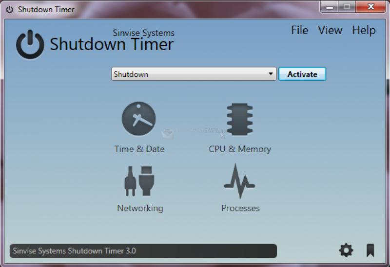 Pantallazo Sinvise Shutdown Timer