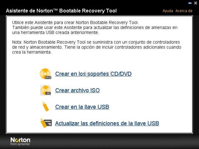 Pantallazo Norton Bootable Recovery Tool