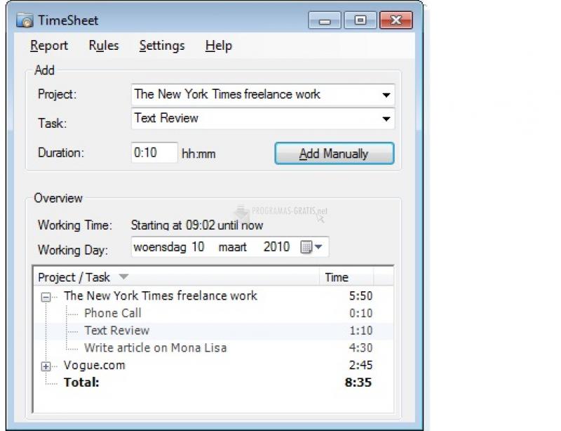 Pantallazo TimeSheet
