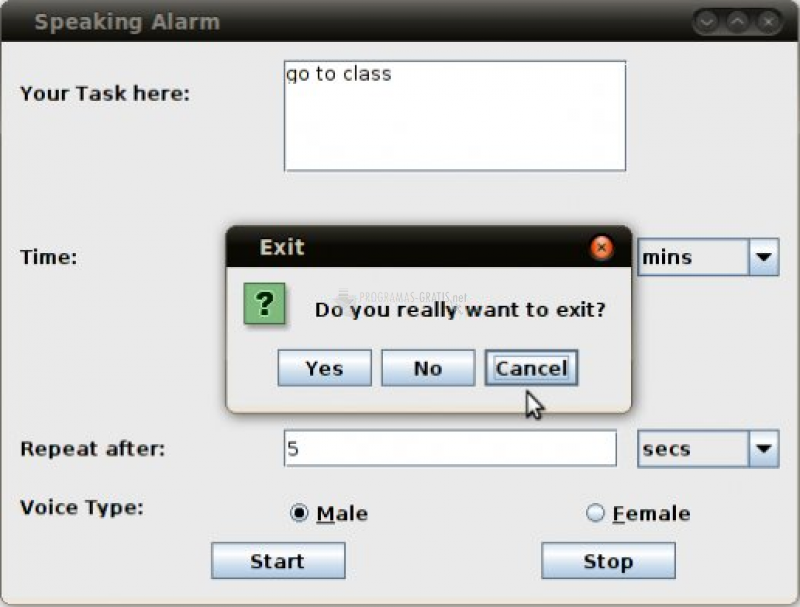 Pantallazo Speaking Alarm