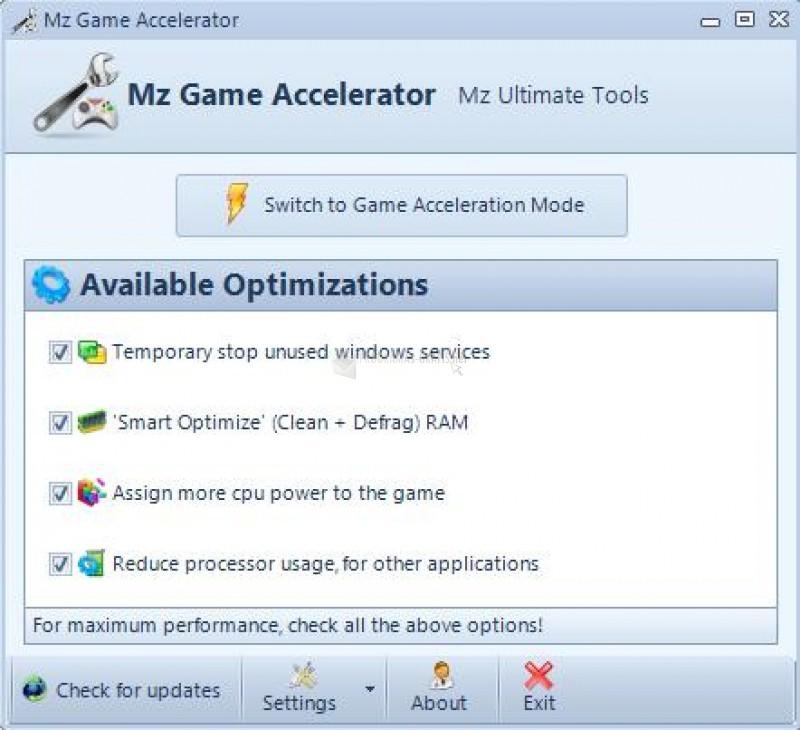 Pantallazo Mz Game Accelerator