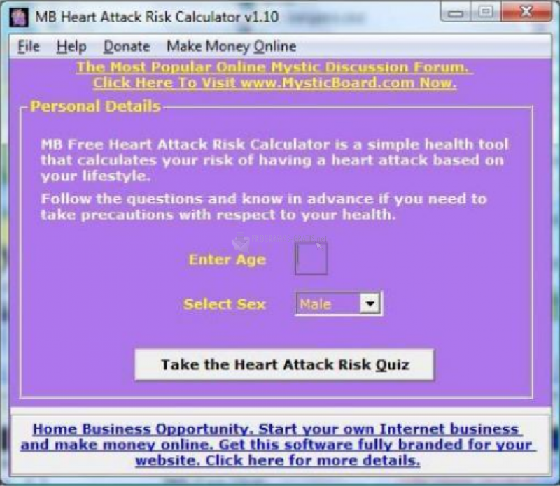 Pantallazo MB Heart Attack Risk Calculator