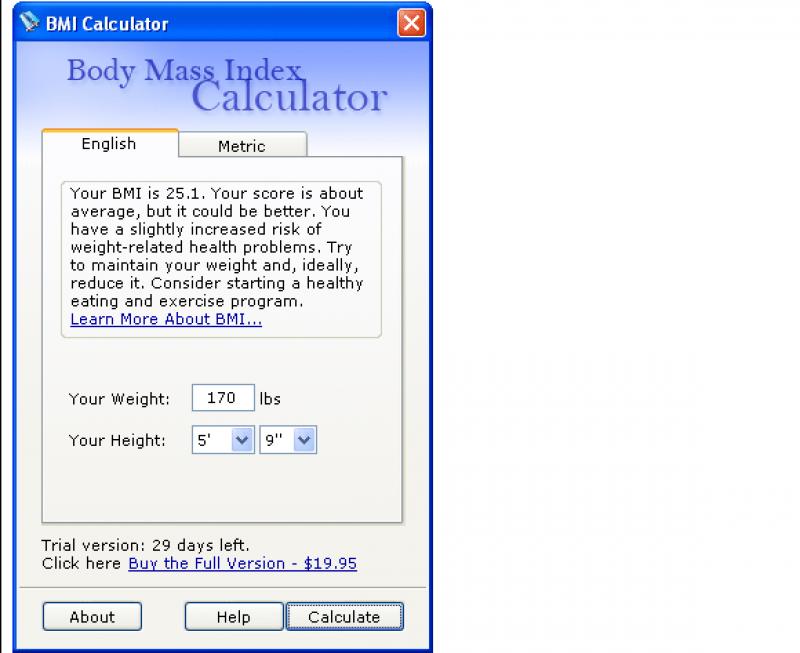 Pantallazo BMI Calculator