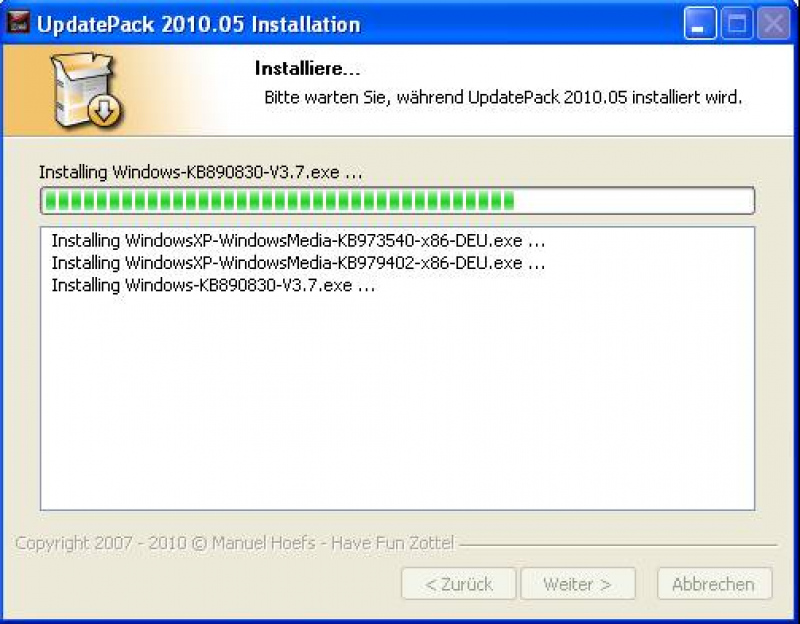 Pantallazo XP UpdatePack
