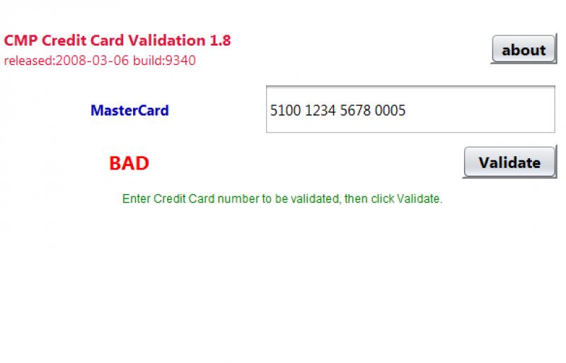 Pantallazo Credit Card Validator