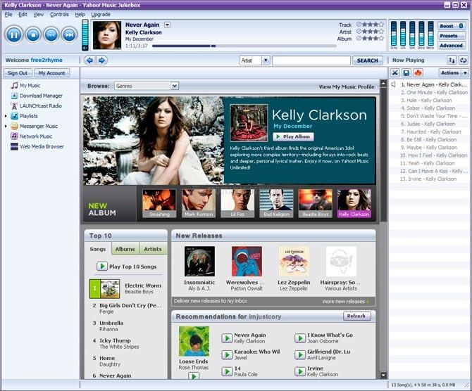 Pantallazo Yahoo Music Engine