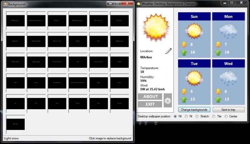 Pantallazo Weather Desktop Background Changer