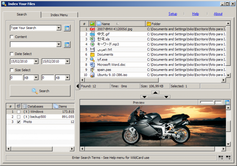 Pantallazo Index Your Files Portable