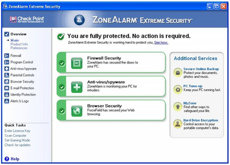 Pantallazo ZoneAlarm Extreme Security