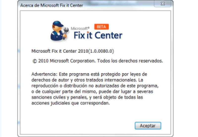Pantallazo Microsoft Fix it Center
