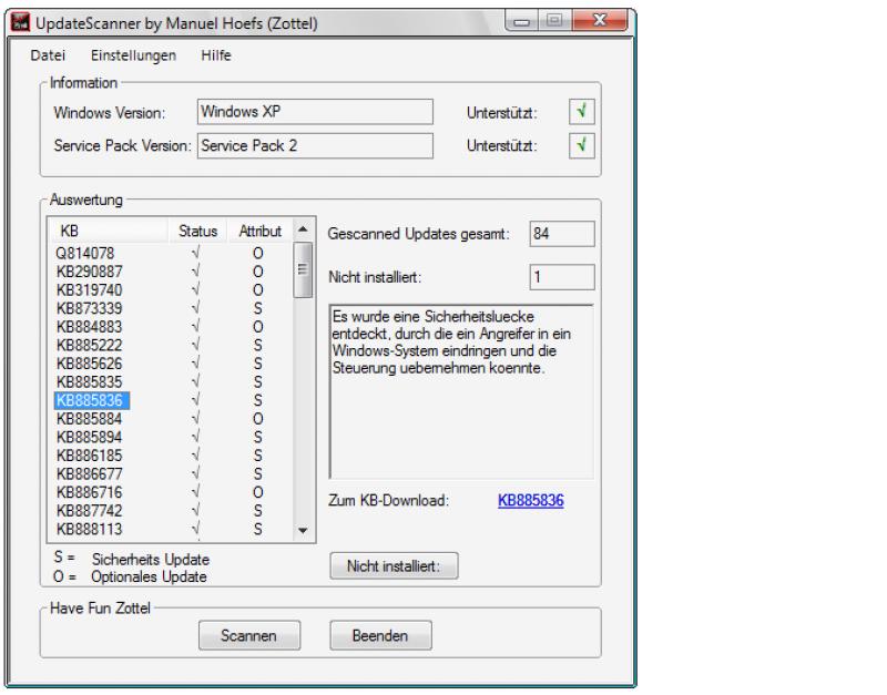 Pantallazo UpdateScanner