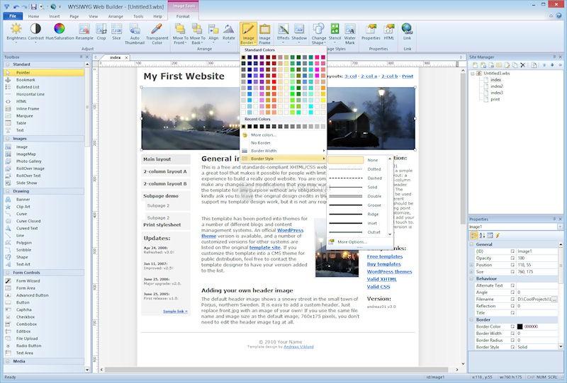 Pantallazo WYSIWYG Web Builder