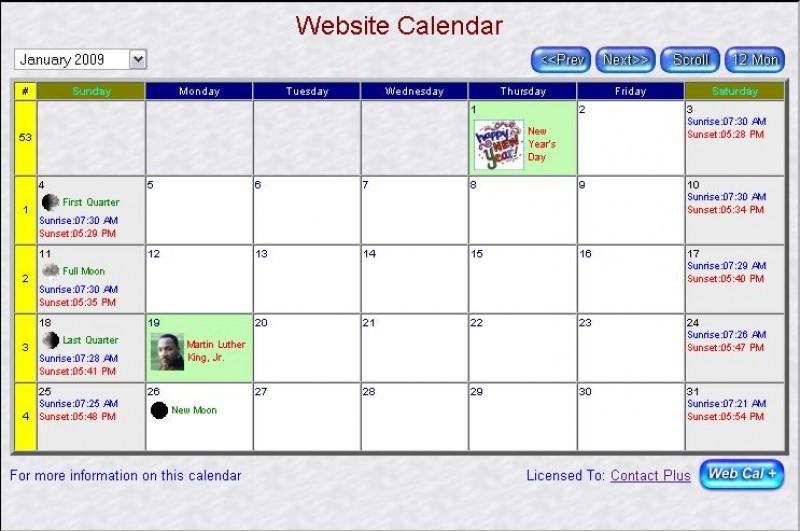 Pantallazo Web Page Calendar