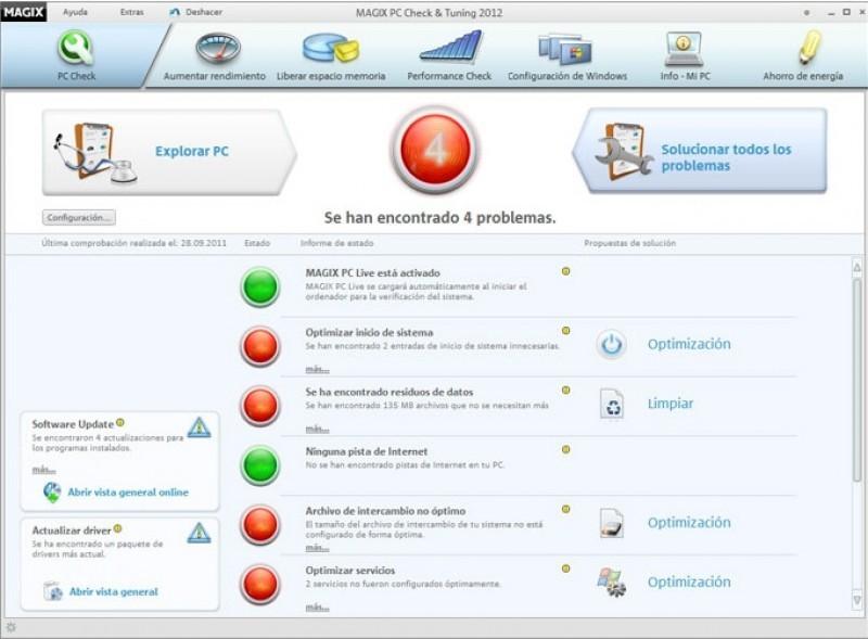 Pantallazo Magix PC Check and Tuning