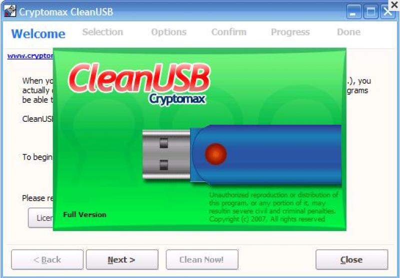 Pantallazo Cryptomax Clean USB