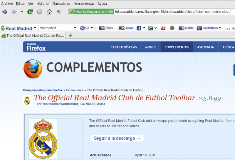 Pantallazo Official Real Madrid Toolbar