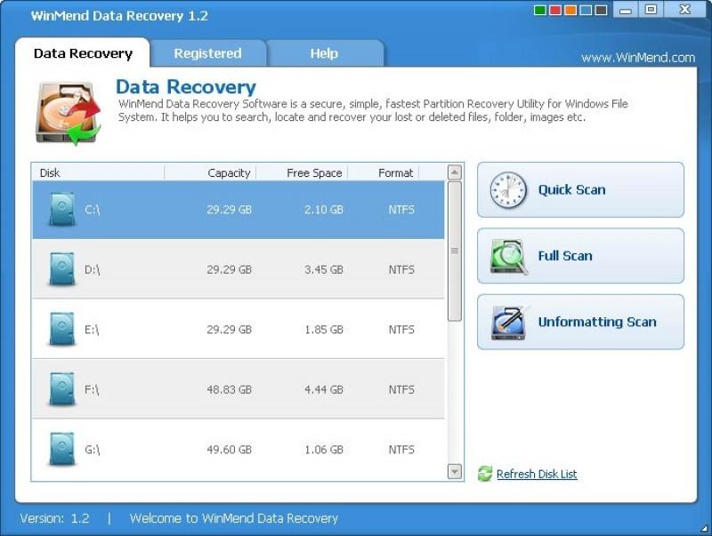 Pantallazo Winmend Data Recovery