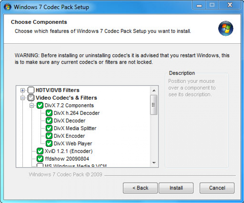 Pantallazo Windows 7 Codecs