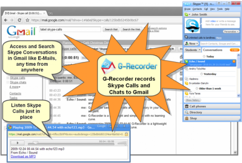 Pantallazo G-Recorder for Skype