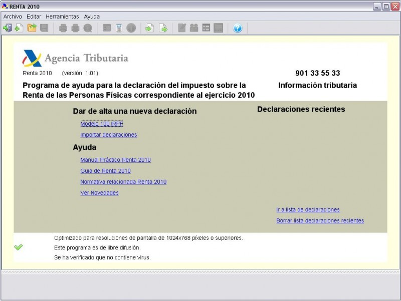 Pantallazo Renta 2010 (Programa PADRE)