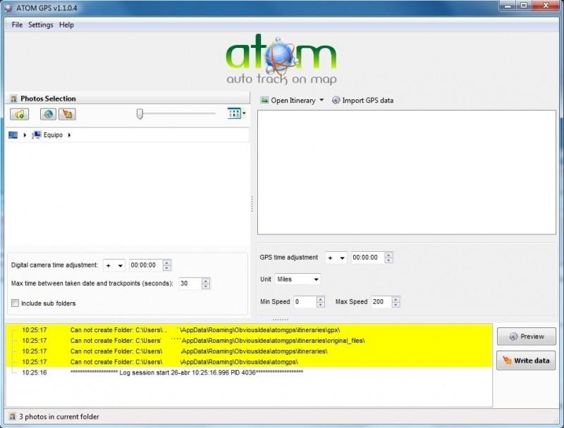 Pantallazo Atom GPS