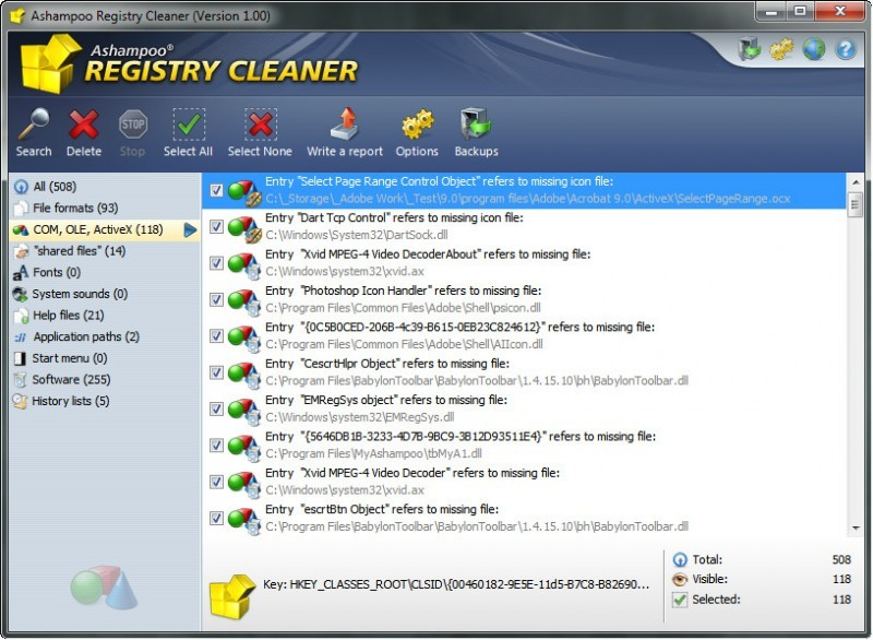 Pantallazo Ashampoo Registry Cleaner